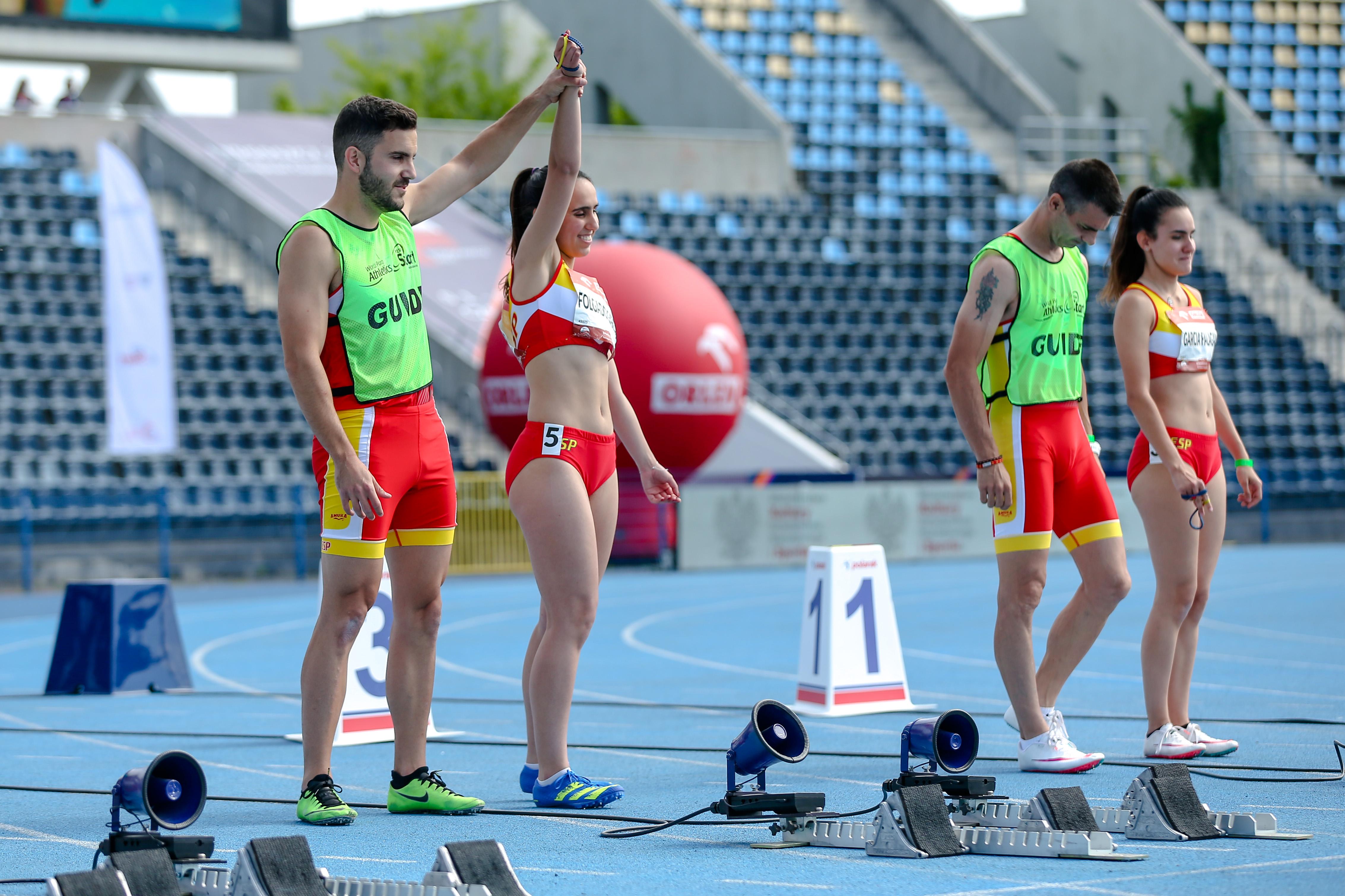 las dos parejas españolas en los 100 metros T12