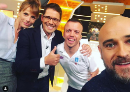 Alberto Seoane, con los compañeros de Teledeporte