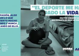 La jugadora de basket en silla Bea Zudaire, como protagonista de la campaña de ALDI