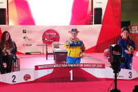 Loida Zabala en el podio